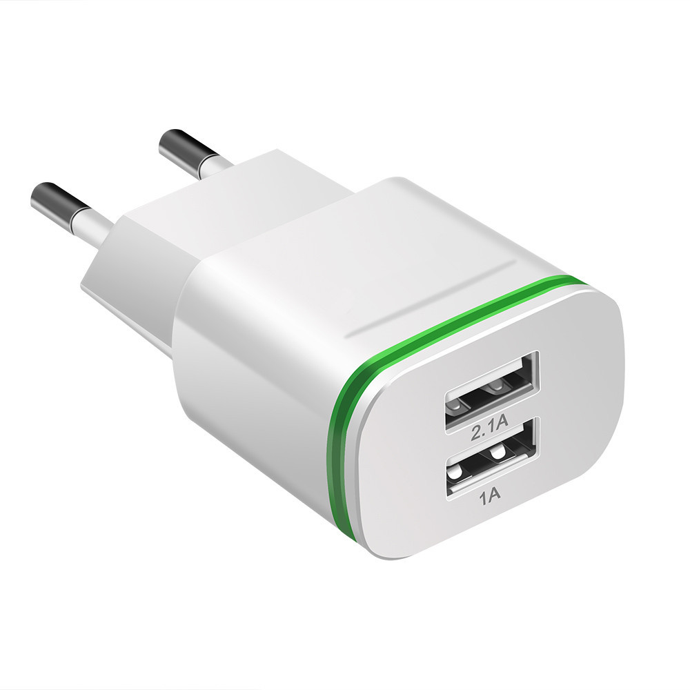 Image 2 - Phone Charger  EU US Plug 2 Ports LED Light USB Charger 5V 2A Wall Adapter Mobile Phone Charging For ios  andriod smart phones-in Mobile Phone Chargers from Cellphones & Telecommunications