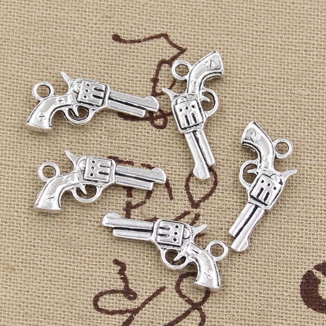 Tibetan Silver Pistol Gun DIY Charms 12pcs