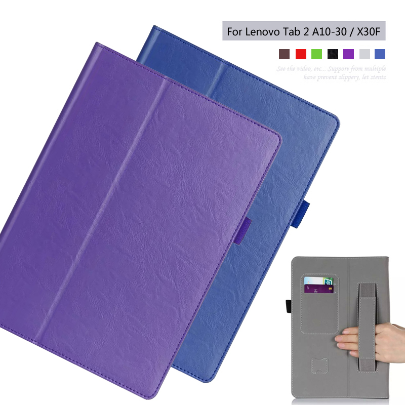 PU leather Slim-book Stand Cover Card Holder Hand Strap Case For Lenovo Tab 2 A10-70F A10-30 X30F 10.1 inch Tablet + Film + Pen ultra slim case for lenovo tab 2 a8 50 case flip pu leather stand tablet smart cover for lenovo tab 2 a8 50f 8 0inch stylus pen
