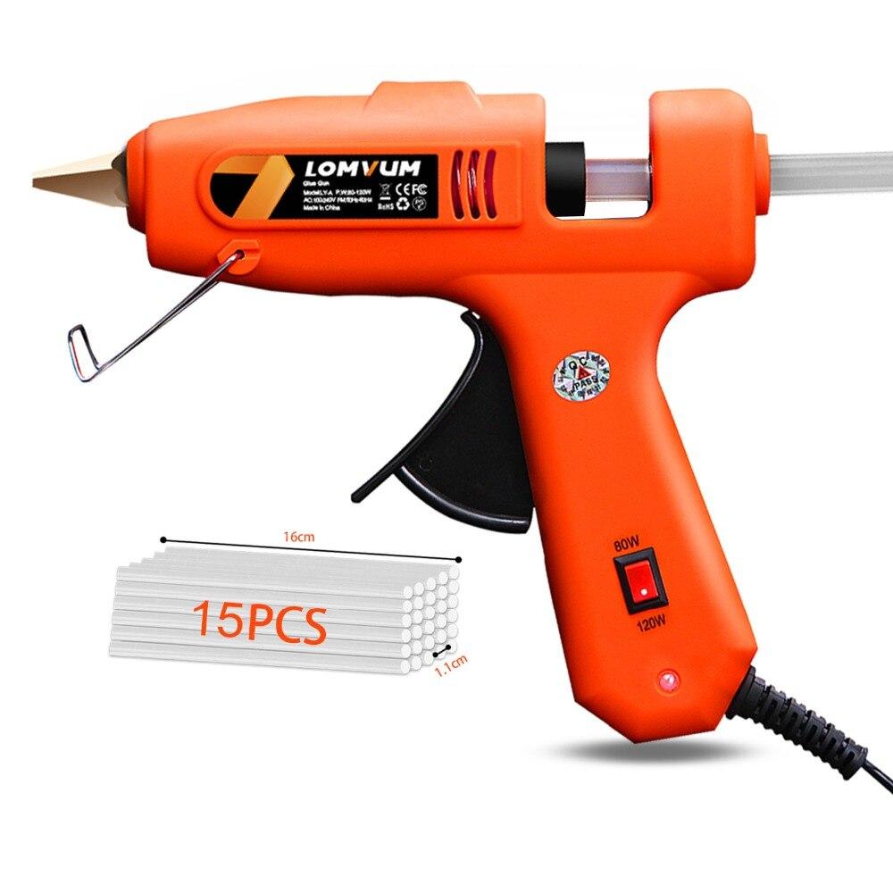 LOMVUM nouveau pistolet à colle thermofusible professionnel haute température 30W pistolet à chaleur de réparation de greffe outils de bricolage pneumatiques avec des bâtons de colle gratuits