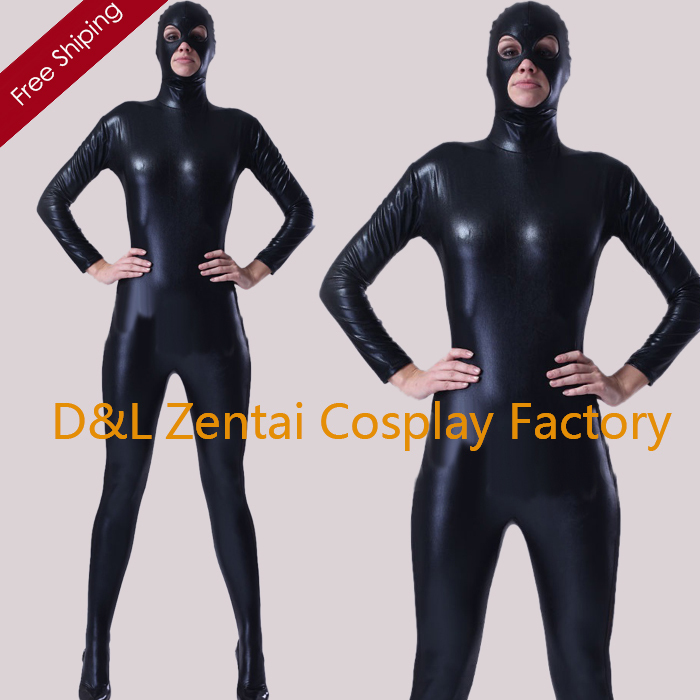 Free Shipping DHL Classic  Full Body Unisex Shiny Metallic Zentai Suit Sexy Black Color Back Zipper SHS102 No Hand