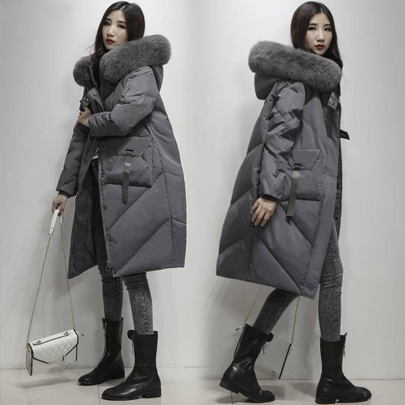 2019 hiver femmes réel plume d'oie chaud lâche manteau Parka femme grand naturel renard col en fourrure d'oie blanche veste Outwear L08