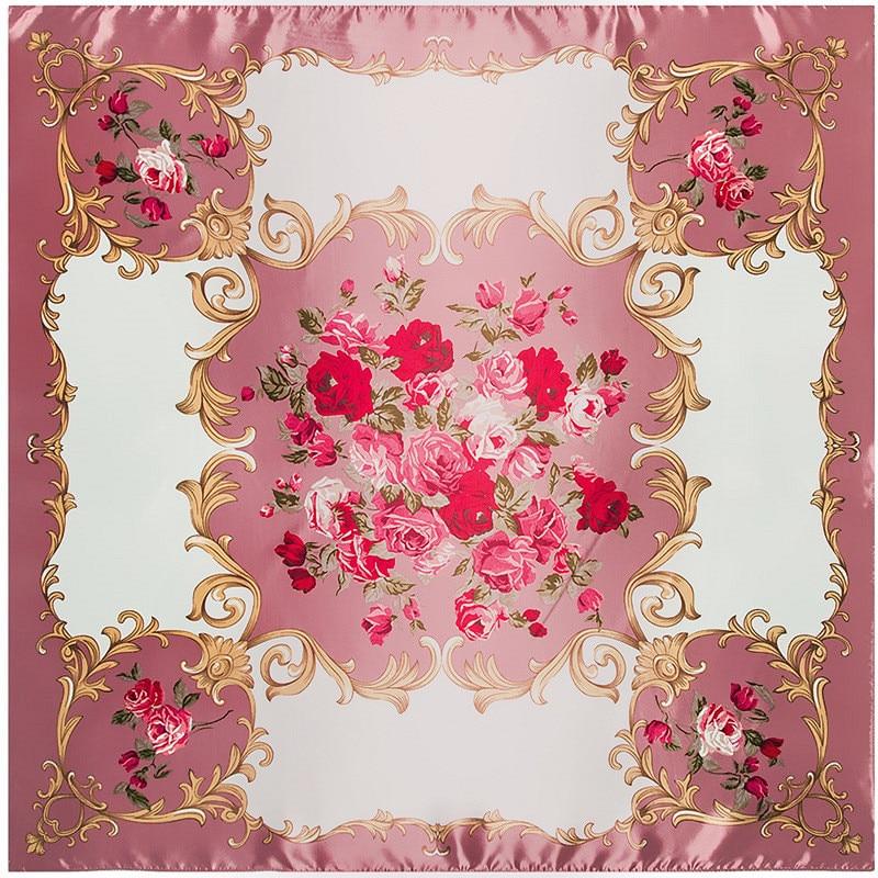 Fashion   Scarf   Women Luxury Brand Rose Floral Hijab Silk Satin Shawl Scarfs Foulard Square Head   Scarves     Wraps   2018 New Design