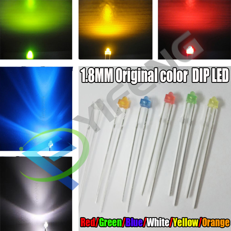 30PCS 1.8 Mm LED Diode Light White Yellow Red Green Orange Blue Original Color  DIP LED