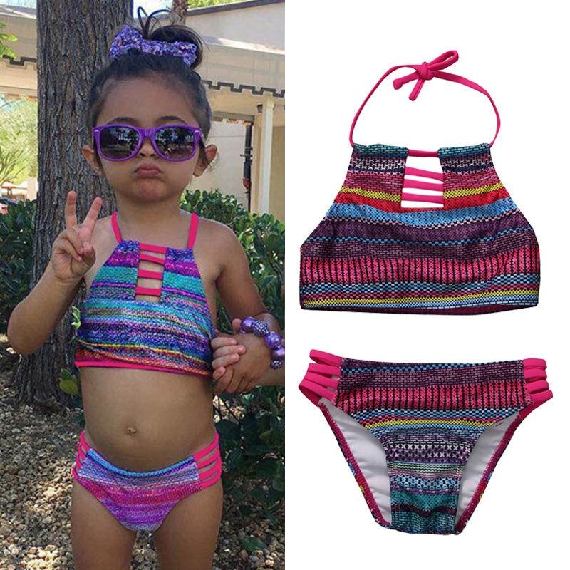 2017 Niños Bebés Niñas Bikini Traje Traje de baño a rayas de - Ropa deportiva y accesorios