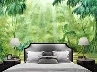 Modern Wallpaper Famous Painting Oil Painting Coconut Tree Wallpaper For Walls 3d Living Room Green