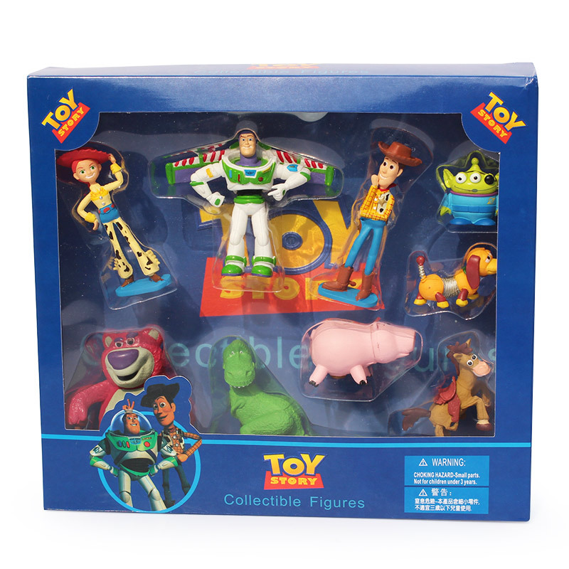 9pcs/set Toy Story Buzz Lightyear Woody Jessie Lotso Rex Dinosaur Bullseye Horse Little Green Men Figure Toys With Box(China)