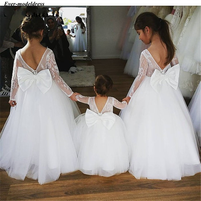 Lovely 2019   Flower     Girls     Dresses   For Weddings Long Sleeves With Big Bow Lace Tulle Floor Length Birthday Party Gowns Customized