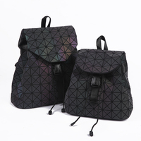 Новый для женщин лазерной рюкзак с отражающими вставками мини геометрический сумка складной студент школьные ранцы для девочки подростка ...