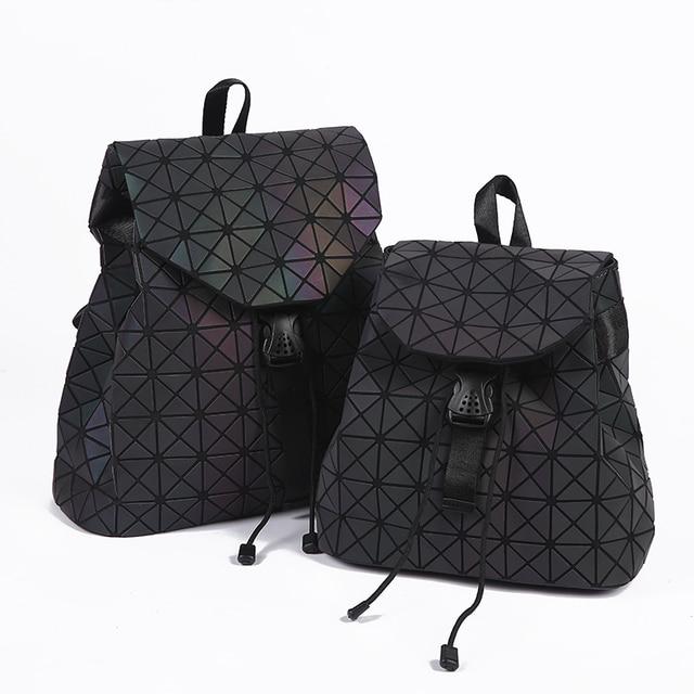 9acd648e2ac6 New Women Laser Luminous Backpack Mini Geometric Shoulder Bag Folding  Student School Bags For Teenage Girl