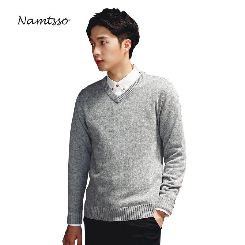 100% Cotton Men Winter Thick Sweater V-neck Long Sleeve Sweater Knitwear Pull Brand Base Top Clothing 305