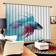 fish curtains Luxury Living Room Curtains 3D Curtains For The Bedroom Kitchen Modern Window Blackout curtain(China)