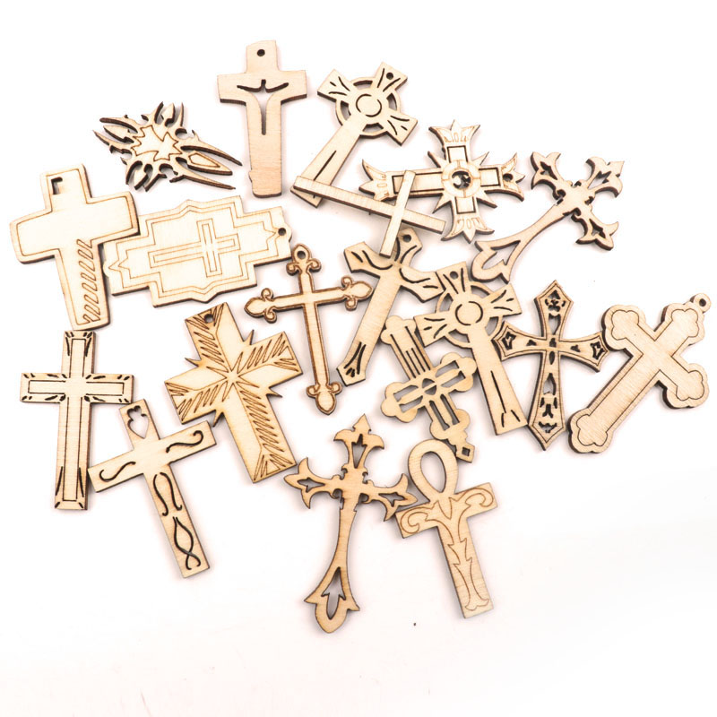 Handmade Wooden Slice Crafts Home Decoration Accessory Scrapbooks Painting DIY Mixed Retro Cross Pattern Ornaments 40-60mm 10pcs