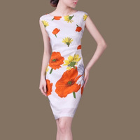 Woman Summer Plus Size O Neck Short Sleeve White Print 100 Silk Slim Dresses Lady Autumn
