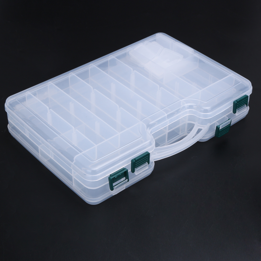 Large Capacity Double Sided Fishing Lure Storage Box Transparent Box Durable ABS Fishing Connectors Fish Hooks