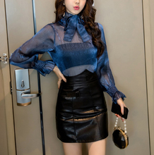 Spring and summer new style Sexy temperament organza + PU leather dress suit