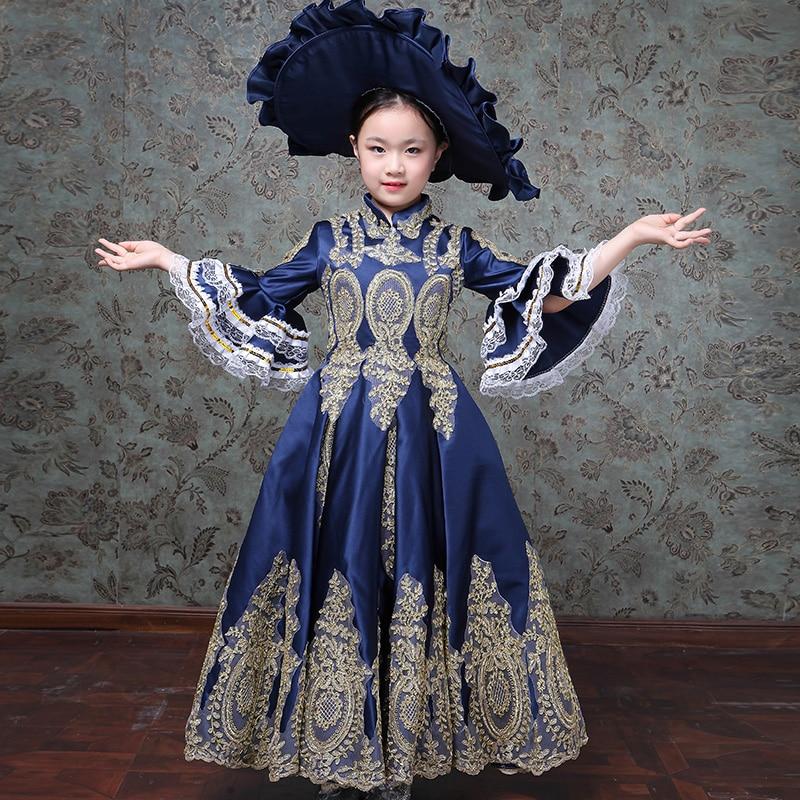 Enfants enfants cour européenne fille robes interprètes Costplay robe filles robe de bal fleur Designer Boutique robe