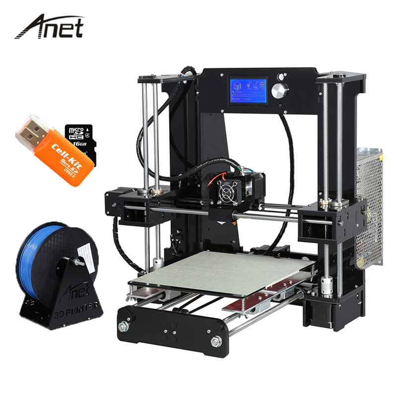 Anet A6 Desktop 3D Printer Kit Big Size High Precision Reprap Prusa i3 DIY 3D Printer Aluminum Hotbed Gift Filament 16G SD Card 2017 anet a8 3d printer high precision reprap impressora 3d printer kit diy large printing size with 1rolls filament 8gb sd card