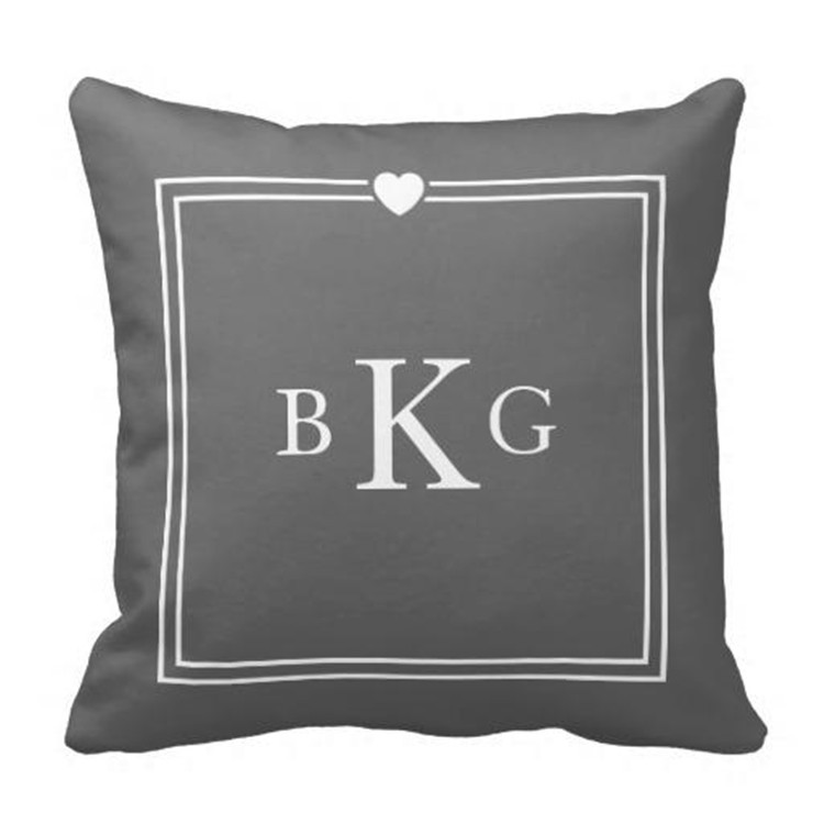 4545 Cm Custom Initials Wedding Throw Pillow Cases Dark