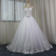 Imej Terhang A-line Brilliant Brilliant Rhinestone Gaun Perkahwinan Renda 2017 Gaun Pengantin Romantik vestido de noiva Penghantaran Pantas