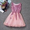 Лето корейский стиль детей платье вуаль платье принцессы золотой блестками кружева бальное платье без рукавов цветок девочки младенец дети платье