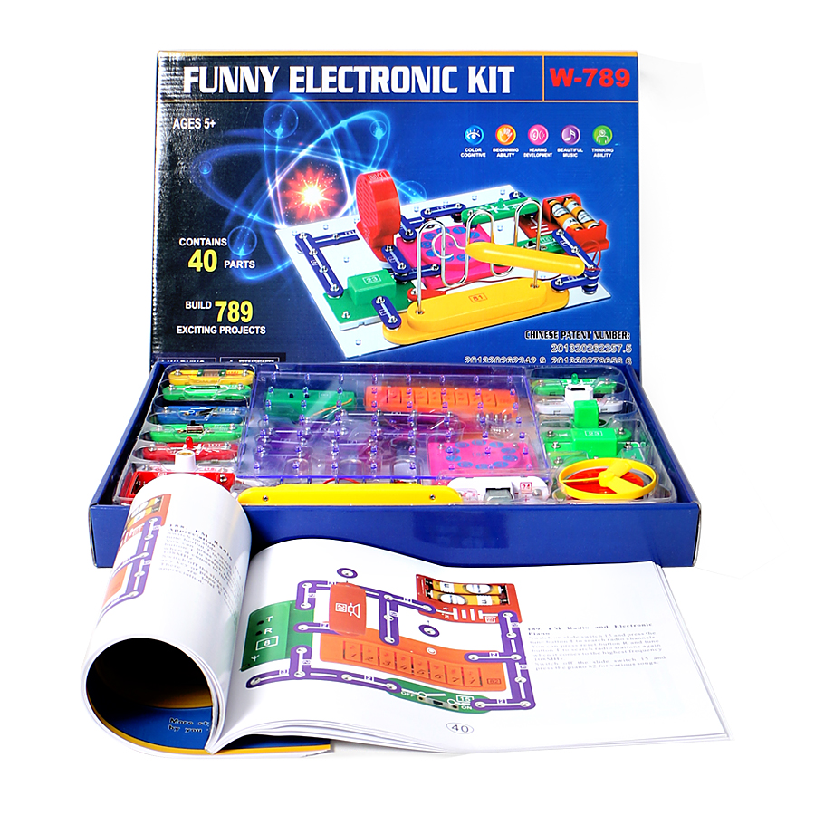 789 Projetos Educativos Inteligentes Eletrônica Kit Descoberta, Grandes Blocos de Construção Diy Engraçado Circuitos Elétricos Kits para Crianças