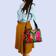 2-Usage Hmong Vintage Ethnic Tribal Thai Indian Boho shoulder bag messenger tote bag handmade, embroidery pom trim SYS-491
