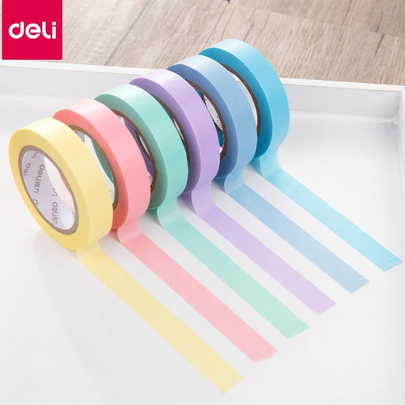 Deli 6pcs Office Adhesive Tape Color Shredder Tape Paper Manual Tape DIY Decorative Greeting Card Sticker Classification Sticker