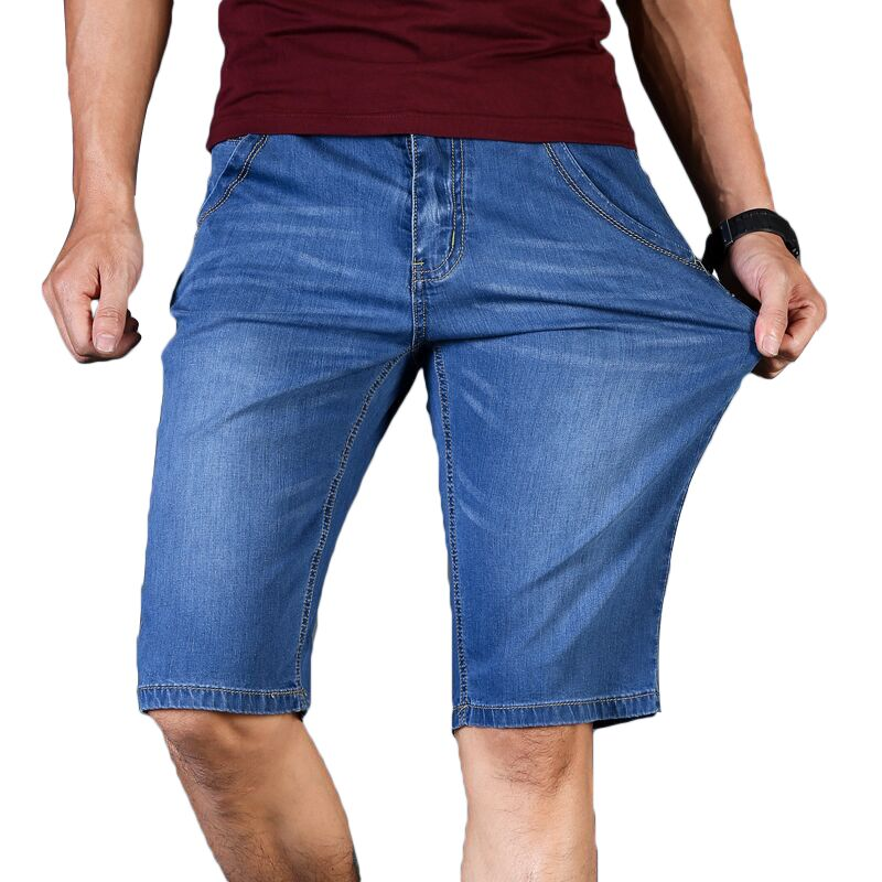 Big Size 40 42 44 46 Summer New Men Business Denim Shorts Fashion Casual Stretch Slim Blue Thin Short Jeans Male