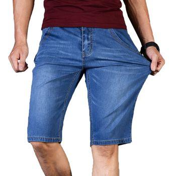 Big Size 40 42 44 46 letnie nowe męskie biznesowe spodenki jeansowe Fashion Casual rozciągliwe dopasowanie niebieskie cienkie krótkie jeansy męskie tanie i dobre opinie Brother Wang Kolano długość REGULAR 3018F35 Zipper fly Kieszenie Stałe Na co dzień COTTON Poliester spandex Szorty