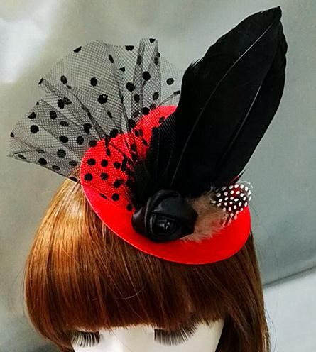 Gothic Lady Women Mini Feather Rose Top Hat Lace Fascinator Costume Hair Accessories 1