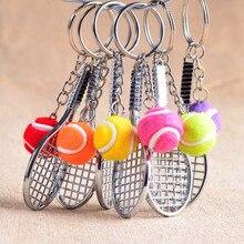12 teile/los Legierung Schlüssel Ketten Tennis Ball Schläger Mehrere Farbe Casual Sportlichen Stil Männer Frauen Teenager Schlüsselring