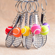 12pcs/lot Alloy Key Chains Tennis Ball Racket Multiple Color Casual Sporty Style Men Women Teenager KeyRing KeyChain