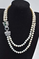 2rows freshwater pearl white near round 8 9mm +green leopard clasp 17 19inch necklace FPPJ FPPJ wholesale