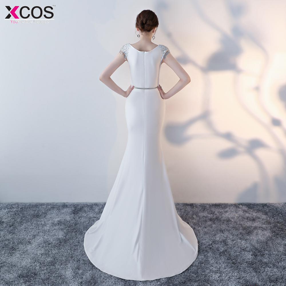 674bbd4e7df Sexy White Slit Front Beaded Crystal Long Evening Dresses with Belt ...