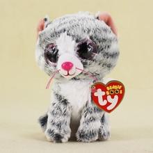 15cm TY Beanie Boos Kawaii Gray Cat Plush Doll Toy For Kids