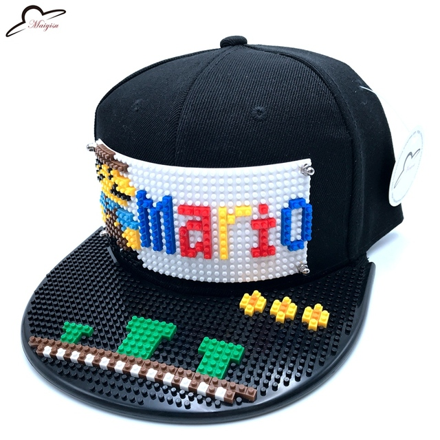 Fashion Super Mario Mosaic Customize Snapback DIY Marie brick Brim Custom for  hat Hip Hop Snapback Hat Baseball Cap a0b9fe494f37