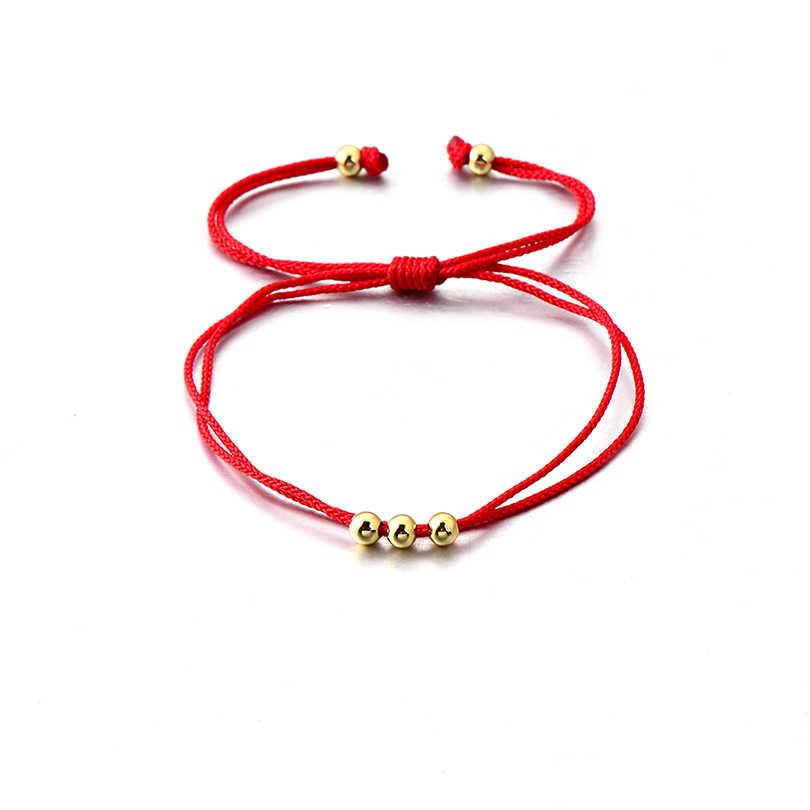 dcac60defae4 VEKNO 4mm cuentas de cobre pulsera trenzada ajustable para amante regalo de  la suerte colorido cuerda cadena pulseras Handamde joyería