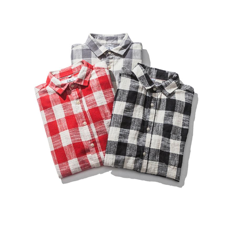 100% Quality Hamboder 2018 Men's Autumn Casual Fashion Cotton Plaid Check Long Sleeve Turn-down Collar Shirt Top Blouse 18august6 And To Have A Long Life.