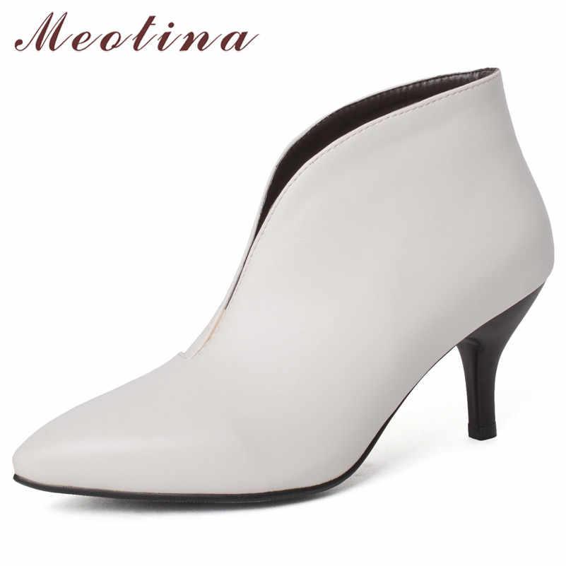 Meotina Kadın yarım çizmeler Sonbahar Ayakkabı Moda Stiletto Yüksek Topuk kısa çizmeler Sivri Burun üzerinde Kayma Ayakkabı Bayan Kış Büyük Boy 43