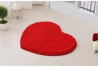 New Big Red Love Heart Microfiber Bath Mats Soft Comfortable chenille Absorbent Bath Rugs bathroom Floor mats Wedding Decoration