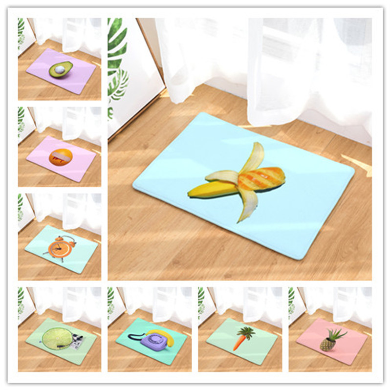 New Anti- Slip Welcome Floor Mats Cute fruit flower Kitchen Rug Decoration Stair Carpets Light Thin Crafts Rugs