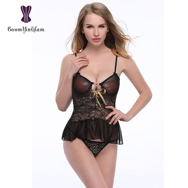 1016# high quality transparent bra set nightwear lace top lingerie set erotic women sexy lingerie for honeymoon