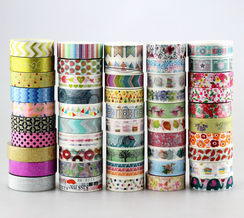New 50pcs Kawaii Colorful 596 Patterns Japanese Washi Tape Paper, DIY Masking Tape For Scrapbooking, 15mm*10m ,Cute Stationery