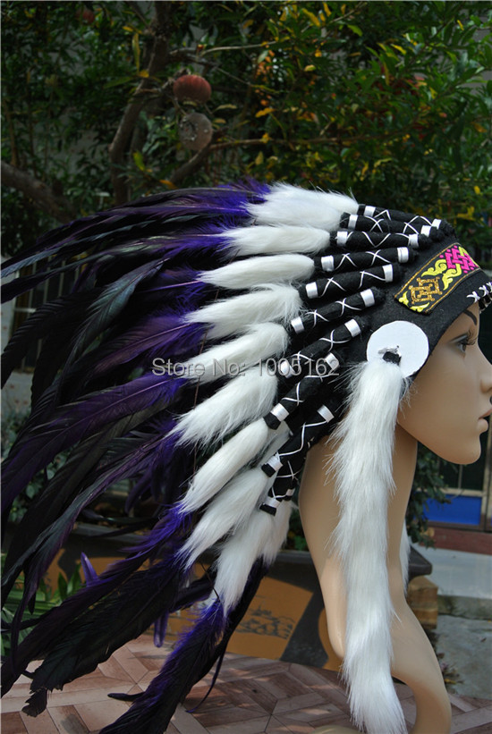21 Inch High Purple And Black Handmade Feather Headdress Feather Headpiece Feather Costumes-- Purple Color