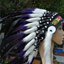 21 дюйм высокий фиолетовый и черный ручной работы перо головной убор с пером костюмы с перьями-фиолетовый цвет