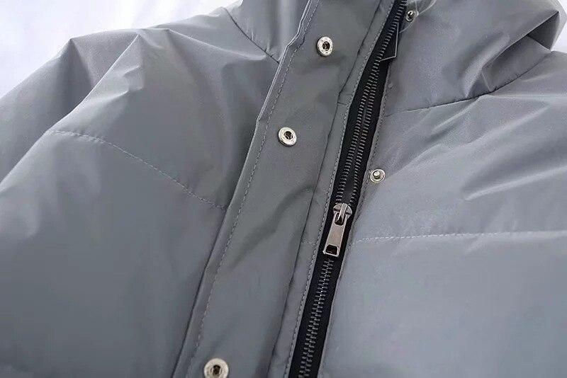 Notte Dimensioni Riflettente Donne Spessore Di Argento Giacche Inverno Riflessione Caldo Delle Cappotto Giacca Manicotto Del Lunghe Grandi Outwear Allentate OOnZAqrf