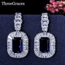 ThreeGraces European Women Royal Style Square Sparkling CZ Crystal Big Drop Diamante Wedding Earrings With Blue Stone ER199
