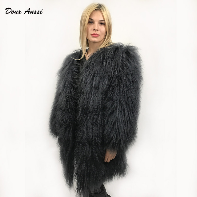 a43711937a49c DOUX AUSSI Black Mongolian Lamb Coat Autumn   Winter Thick Warm Dark Solid  Full Pelt Mongolian Sheep Fur Jacket Women