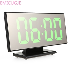 Electronic Desktop Table Digital Clock Mirror Surface Clock with Large LED Display USB Port for Bedroom